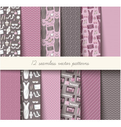 Seamless grey and pink pattern set vector