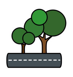 Isolates trees on highway vector