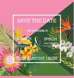 Wedding card in tropical flowers summer banner vector