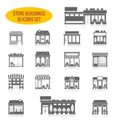 Store building icons set black vector image