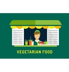 Vegetarian city food shop object icons nature vector