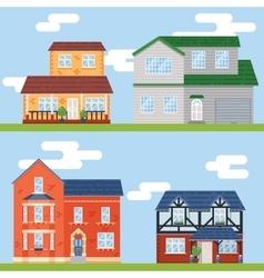 Retro Flat House Icons and Symbols set vector image