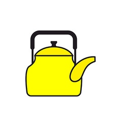 Yellow teapot tableware for boiling water icon vector