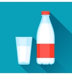 With bottle and glass of milk in flat vector