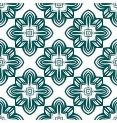 Retro green flowers seamless pattern vector image