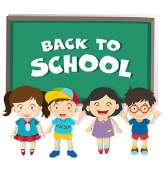 Back to school theme with boys and girls vector image
