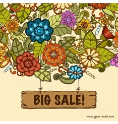 Template with floral doodles sale banner vector