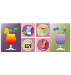 Cocktail glasses of different shapes icon set vector