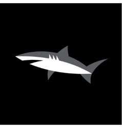 White shark on a dark background animal logo vector