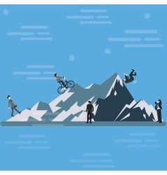 Businessman climbing mountain hill up tothe top vector
