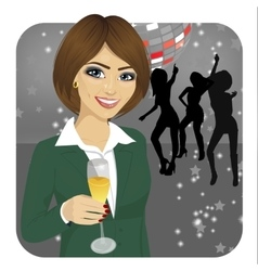 Businesswoman holding glass of champagne vector