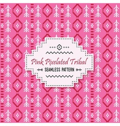 Cute pink tribal pixels pattern and white label vector