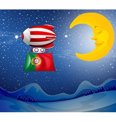 A floating balloon with the flag of portugal vector