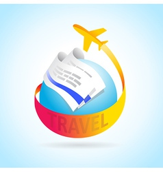 airplane flight travel takeoff blue globe tickets vector image vector image
