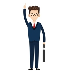 businessman with hand up icon vector image