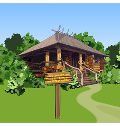 Cartoon wooden house in the woods with a sign vector
