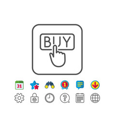 Click to buy line icon online shopping sign vector
