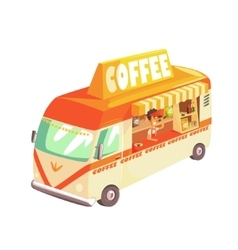 Coffee shop cafe in mini bus on sunny day vector