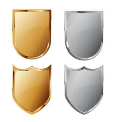 Collection of silver and golden shields vector
