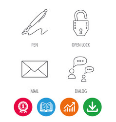 Dialog mail envelope and open lock icons vector