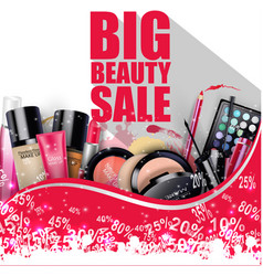Discounted cosmetic products on white background vector