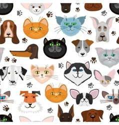 Dog and cat seamless pattern Pets animals vector image vector image