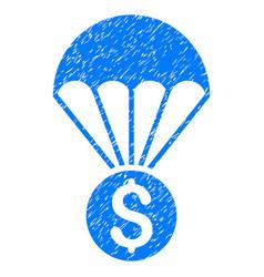 Financial parachute grunge icon vector