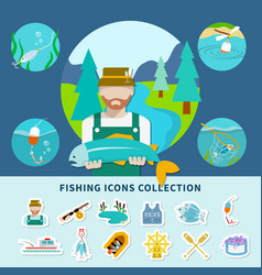fishing icons collection background vector image vector image