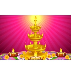 Golden Diya Stand vector image vector image