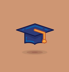 Graduate hat on a brown vector