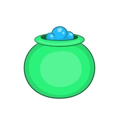 Green witch cauldron with potion icon vector image