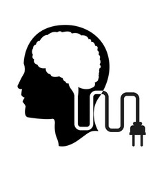 Head profile human brain cable plug vector