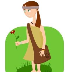 Hippie girl with flower in hand vector image vector image