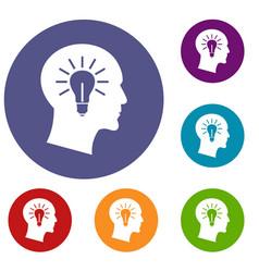 light bulb inside head icons set vector image vector image