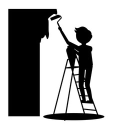 Man painting wall vector