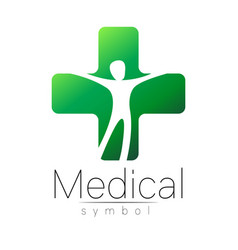 Medical sign with cross human inside vector