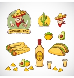 Mexican Food Set with Logo vector image