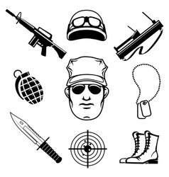 Military icons vector image