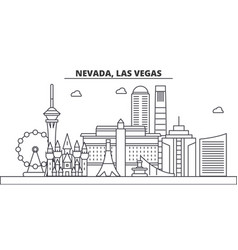Nevada las vegas architecture line skyline vector