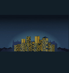 Night cityscape in flat style vector