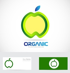 Organic apple nature food concept logo vector