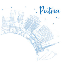 Outline patna skyline with blue buildings and vector