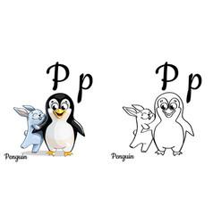 Penguin alphabet letter p coloring page vector
