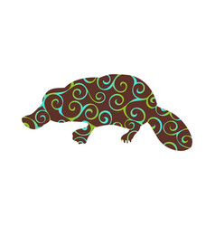 Platypus mammal color silhouette animal vector