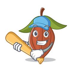 Playing baseball cacao bean character cartoon vector