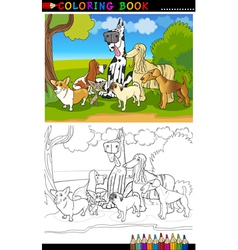 Purebred dogs cartoon for coloring book vector