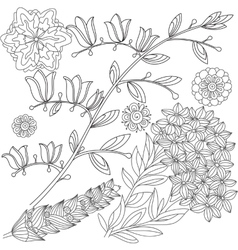 Set of black and white flowers vector