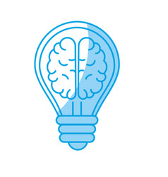Silhouette creative bulb with brain inside over vector
