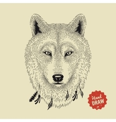 Sketch of a wolf face wolf head front vector