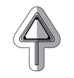 Sticker silhouette triangle shape traffic sign vector